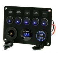 Voltmètre multi-fonctions 12V avec ports USB et interrupteurs à bascule